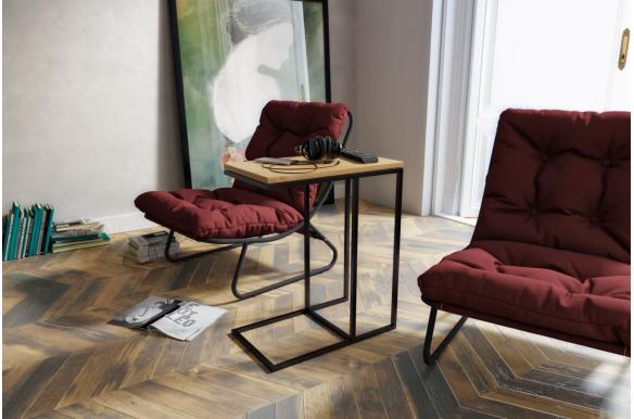 stolik pomocniczy drewniany z metalowymi nogami