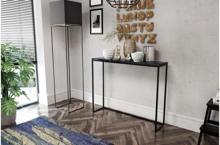 Konsola z granitem i metalowymi nogami