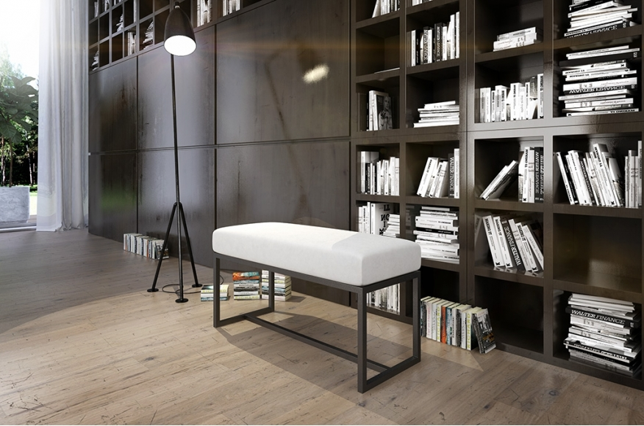 Biała ławka do mieszkania